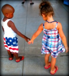 little kids, boy and girl, kids, holding hands, inter racial, bi-racial